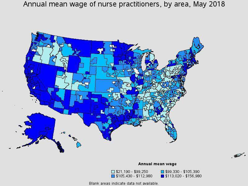 Map detailing annual mean wage of nurse practitioners by area