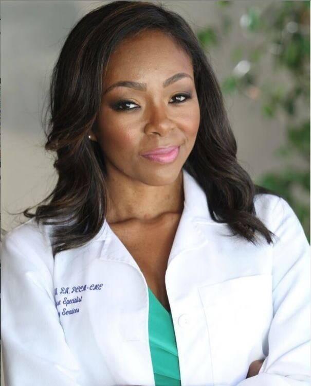 Nurse Alice, NP, wearing lab coat