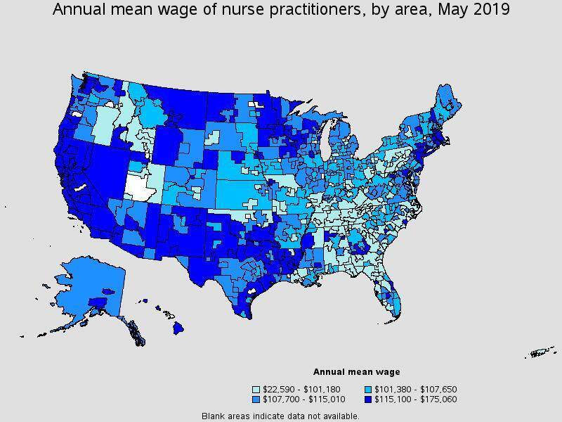Map depicting average nurse practitioner salary by area