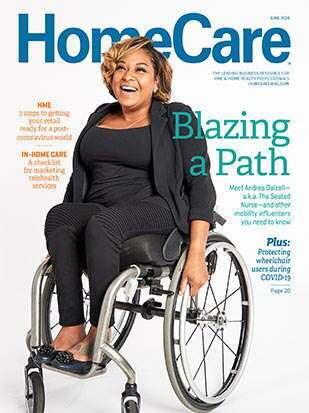 Magazine cover of nurse in wheelchair